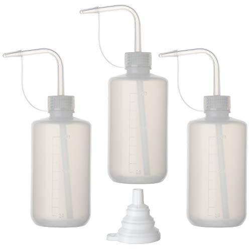 Hyber&Cara 3 Stück Spritzflasche Laborflasche Waschflasche 250 ml Squeeze Flasche aus Kunststoff mit Silikon-Trichter