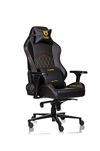 Luxe Ultra Max Gaming Chair and Desk Chair- Black Body with Black Side seat Panels and Gold...