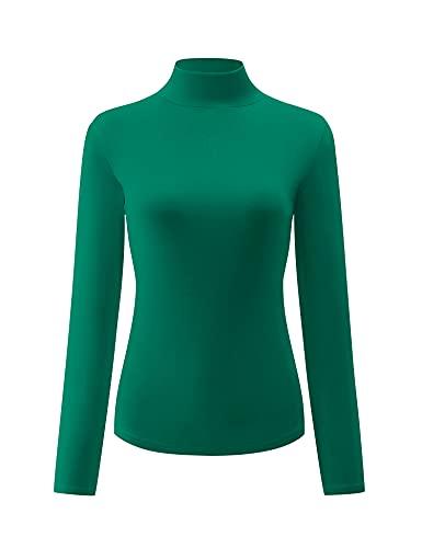 KLOTHO Christmas Women's Slim Fitted Mock Turtleneck Tops Long Sleeve Lightweight Base Layer Shirts Green Medium