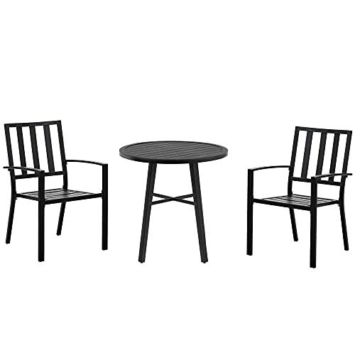 Outsunny Salon de Jardin 2 Places 3 pièces 2 chaises et Table Style Contemporain Acier époxy Noir