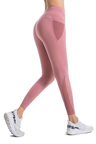 PIZOFF Damen Sport Legging Hose mit Taschen Blickdicht Gym Sporthose Laufen Fitness Yogahose,M,Babypink