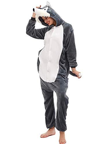 Amenxi Tier Onesie Pyjama Cosplay Kostüme Schlafanzug Erwachsene Unisex Animal Tieroutfit tierkostüme Jumpsuit Nachtwäsche (Grey Huskies, Körpergröße 155-165cm (M))