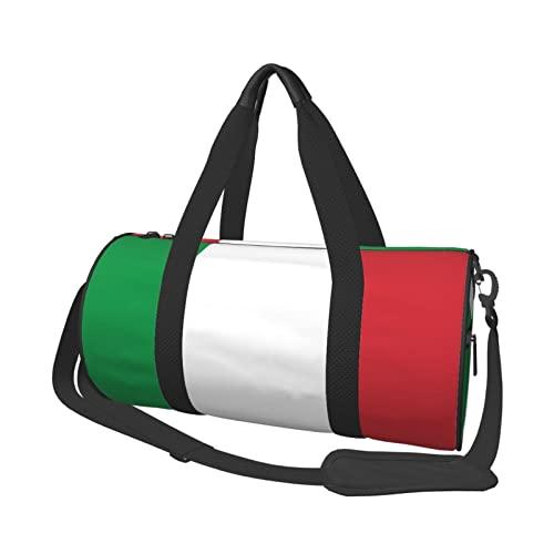 EDJKEJYCO Borsone da viaggio con bandiera italiana, leggero e pieghevole, impermeabile, con borsa da palestra per uomini e donne, Come mostrato, 17.7 x 9 x 9 inches,