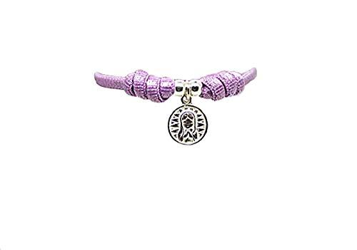 kokomorocco Pulsera comunión Medalla Virgen niña de Plata de Ley con cordón elástico Ajustable Color Malva, Regalo Cuento con la Historia de la Virgen niña