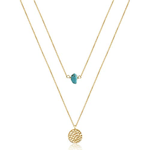 Dainty Turquoise Choker 14K Gold Disc Necklace Hammered Gold Necklace for Women Simple Necklace Jewelry