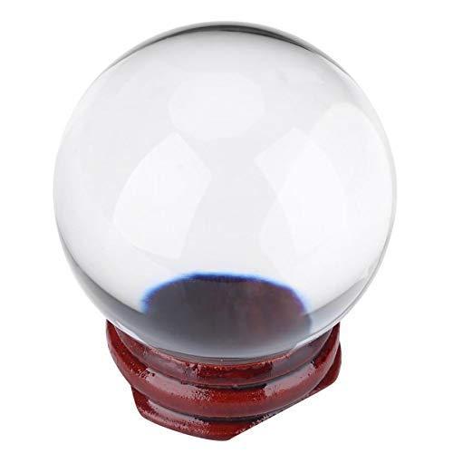 Estatua de Feng Shui, bolas de vidrio transparente 1 pieza 50 mm Bola de cristal de cuarzo artificial Esfera transparente Decoración del hogar + Soporte de madera Adorno artesanal Decoración del hogar