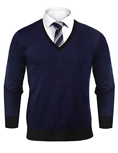 Sykooria heren pullover V-hals regular fit katoen mannen gebreide trui lange gram jumper