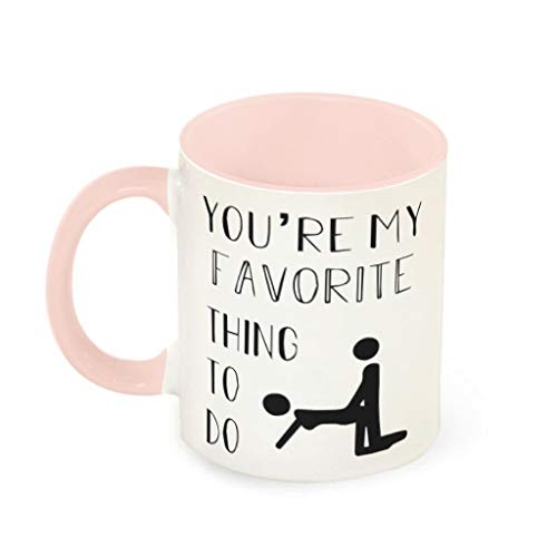 XHJQ88 - Taza de té con asa de cerámica, diseño con Texto en inglés You'Re My Favorite Things to Do Brewing, de 11 onzas, cerámica, Rosa Claro, 330ml