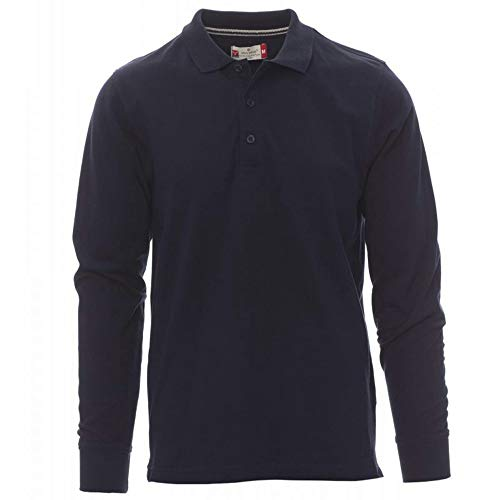 PAYPER, Polo da uomo, a maniche lunghe, 100% cotone, 3Bottoni blu navy XXL