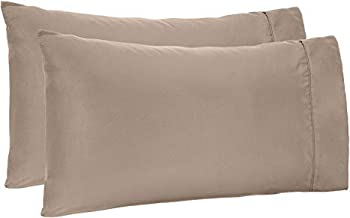 CCWB by Cotton Craft 600TC 100% Cotton Pillow Cover/Pillow Case Set of 2 (17 x 27 Pack of 2, Taupe)