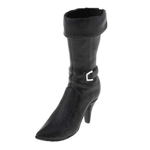 1/6 Skala Weibliche Soldat High Heel Schuhe Stiefel für 12 Zoll Action Figuren - Schwarz