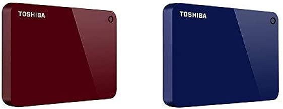 Toshiba Canvio Advance 2TB Portable External Hard Drive USB 3.0, Red (HDTC920XR3AA) with 2TB Portable External Hard Drive USB 3.0, Blue