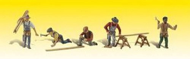 Carpenter Crew w Accessories (5) HO Scale Woodland Scenics by Woodland Scenics
