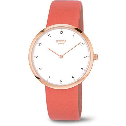 Boccia Damen Analog Quarz Uhr mit Leder Armband 3309-03