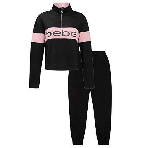 Womens Hoodie and Pant Sweatsuit Set - Sweaters Joggers for Women Cute French Terry Black Small