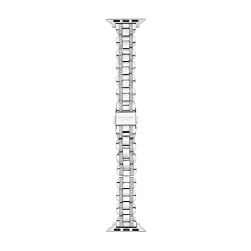 Kate Spade New York Women's Stainless Steel Apple Watch Band Strap 38mm 40mm Color: Silver Glitz (Model: KSS0090)