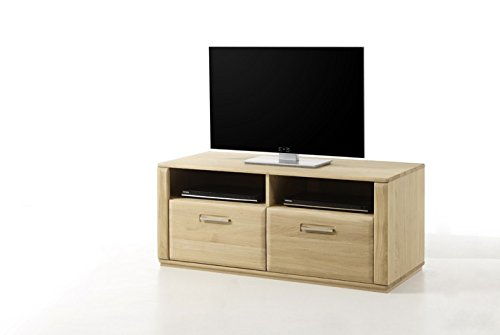 Dreams4Home Lowboard massiv 'Yascha' Eiche Bianco Massivholz Anrichte TV-Element TV Schrank Sideboard, aufgebaut, Breite 124 cm