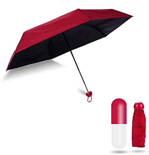 House of Quirk Ultra Light and Small Mini Umbrella with Cute Capsule Case,5 Folding Compact Pocket Umbrella - Red