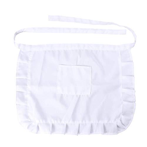 BESTonZON Kurze Taille Schürze Kellnerschürze Küchenschürze mit Taschen (weiß)