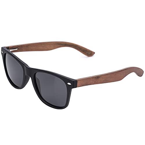 Benefast Sonnenbrille Herren Holz Polarisiert Retro Sonnenbrillen Damen Vintage Polarisierte Schwarz UV400 Schutz