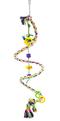 """Birds LOVE Cotton Boing n' Toy with plastic chews & toy rattle ball on Sisal Rope, African Congo, Goffin Cockatoo, Mini Macaw, Yellow Naped Amazon, Size MD: 0.87""""Dia63""""L (full length if straightened)"""