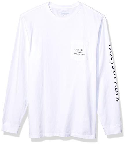 vineyard vines Men's Long Sleeve Vintage Whale Pocket T-Shirt, White Cap, X-Large
