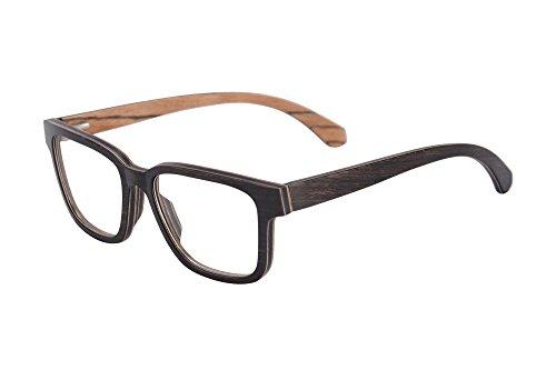 SHINU Horn Rimmed Wood Eyeglasses Frames Clear Lens Wooden Glasses Anti Blue Light Myopia Glasses-F138(ebony&zebra,frame)