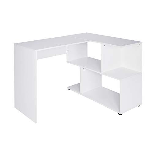 Lestarain Schreibtisch Arbeitstisch Bürotisch Winkelschreibtisch Winkelkombination mit Ablagen, PC Laptop Tisch aus MDF 120x100x77cm(BxTxH), Weiß