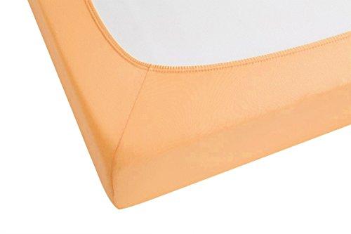 biberna 77144 Jersey-Stretch Spannbetttuch, nach Öko-Tex Standard 100, ca. 140 x 200 cm bis 160 x 200 cm, gold - 3