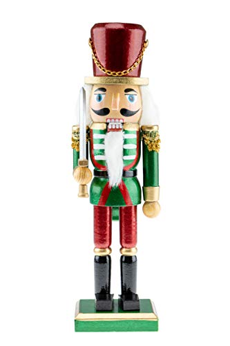 Clever Creations Wooden Solider Traditional Christmas Nutcracker | Red, Green, and White Outfit and Holding Sword | Festive Christmas Decor | 10' Tall Great for Any Holiday Collection