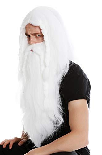WIG ME UP ® - RJ033-P60 Peluca Larga Blanca y Barba Trenzada para Hombre Carnaval Vikingo bárbaro Enano Germano Viejo