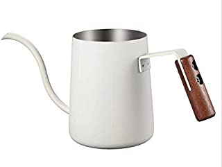 Minos Pour Over Gooseneck Kettle - Stainless Steel with Heat Resistant Wooden Handle; 0.3 L / 10 fl oz Liquid Capacity Sui...