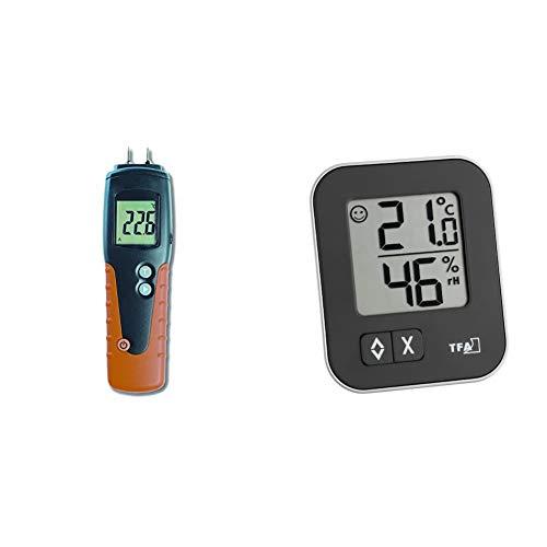 TFA Dostmann Humidcheck Pro Holzfeuchtemessgerät, für Brenn- und Bauholz, ca. 150 Holzsorten & Moxx digitales Thermo-Hygrometer, zur Raumklimakontrolle, Überwachung der Luftfeuchtigkeit, 1er Pack