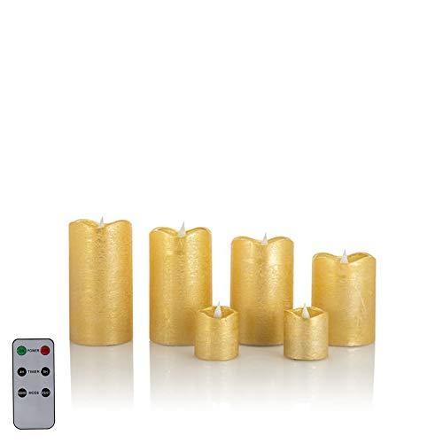 6 LED Echtwachskerzen mit täuschend echter Flamme & Docht, Fernbedienung und Timer (6er Gold Metallic)