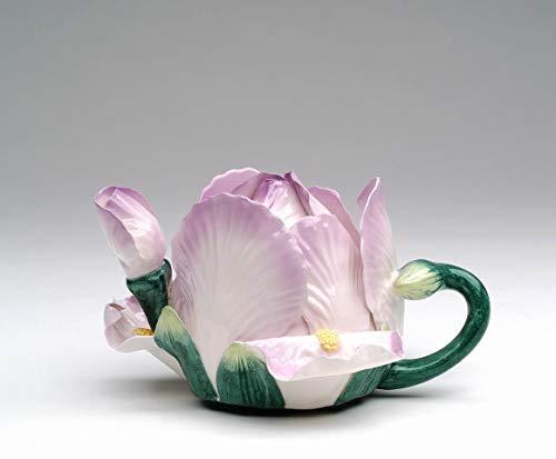Fine Ceramic Hand Painted Blossom Purple Lilac Color Iris Flower Teapot 6-12 L