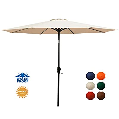 MEWAY 10ft Patio Umbrella Outdoor Umbrella with Push Button Tilt and Crank for Commercial Event Market, Garden, Deck,Backyard,Pool and Patio Table (10 ft, Beige)