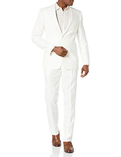 Calvin Klein Men's White Slim Fit Linen Suit, 40R