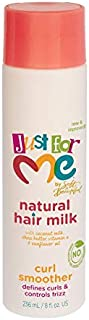 Just for Me Natural Hair Milk Curl Smoother - Defines Curls & Controls Frizz, Contains Coconut Milk, Shea Butter, Vitamin E, Sunflower Oil, Lightweight Moisture, 8 oz