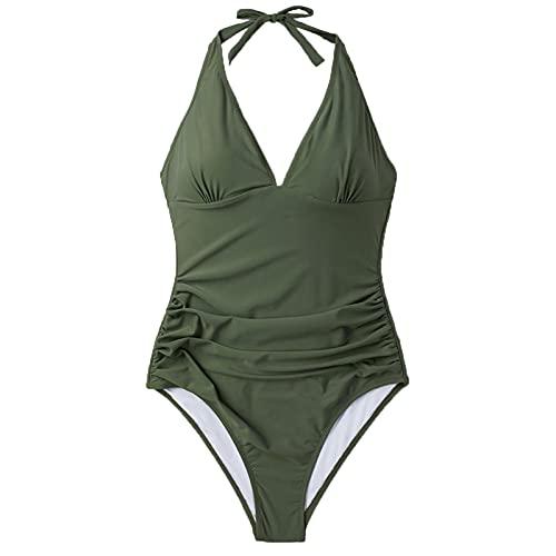 Traje de baño de una pieza sexy con cuello en V para mujer, color verde sólido, traje de baño de playa, ropa de playa (color: verde militar, tamaño: S.)