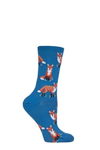 Damen 1 Paar HotSox Füchse Baumwollsocken - Blau 37-42