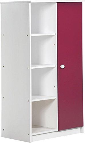 Design Vicenza 'Avola Una Porta Armadio, in Legno, Colore: Bianco con Dettagli Fucsia