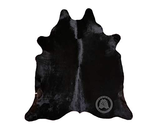 Teppich aus Kuhfell, Farbe: Schwarz Dunkler Ton, Größe circa 190 x 160 cm, Premium - Qualität von Pieles del Sol aus Spanien