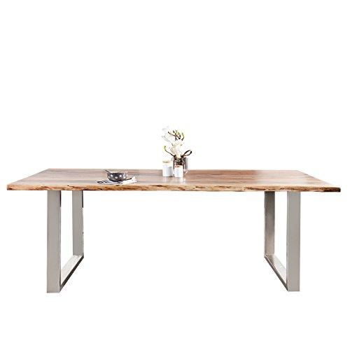 Invicta Interior Massiver Baumstamm Tisch Mammut 200cm Akazie Massivholz Industrial Look Kufengestell Esstisch mit 3,5 cm Dicker Tischplatte