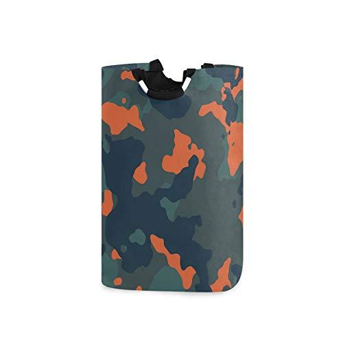 OTVEE Fashion Orange Gray Woodland Camouflage Kids Laundry Basket Folding Laundry Hamper Organizer for Clothes Toy Book Storage