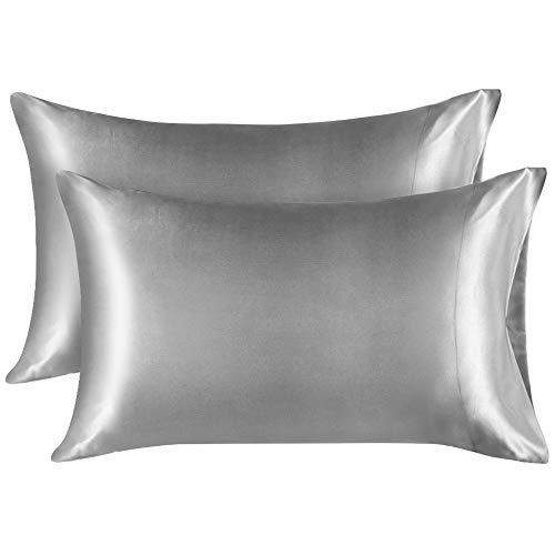 Lirex 2 Paquetes Funda Almohada Seda, Standard (50x75 cm) Size Microfibra de Color Sólido Suave Funda de Almohada de Seda, Sin Arrugas Resistente a la Decoloración Respirable - Gris Oscuro