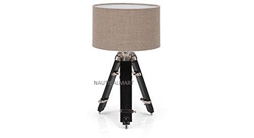 NAUTICALMART Chrome Finish Classical Designer Black Tripod Table LAMP Stand