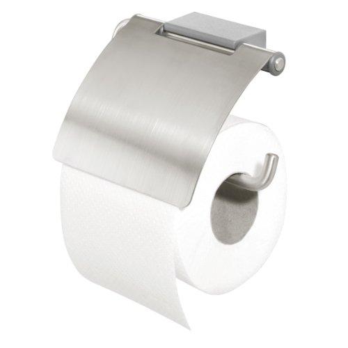 Tiger Cliqit Toilettenpapierhalter, Halterung aus gebürstetem Edelstahl, Wandbefestigung ABS Kunststoff, grau