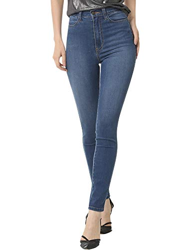 ruisin High Waist Super Stretch Skinny Jeans for Women Sexy Distressed High Waisted Stretchy Denim Jeggings Leggings Pants Blue 25 L29