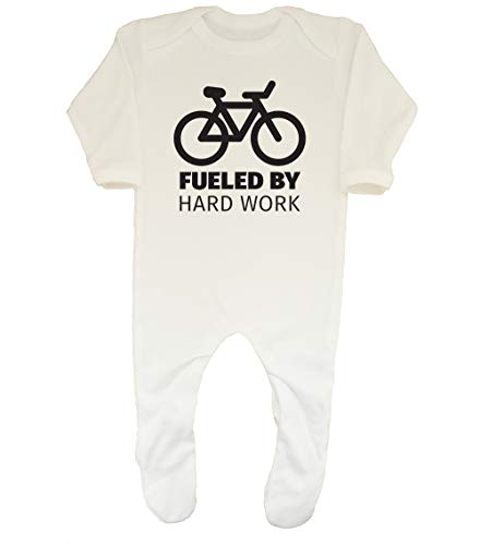 Shopagift Baby Fueled by Hard Work Funny Cycling Sleepsuit Romper White