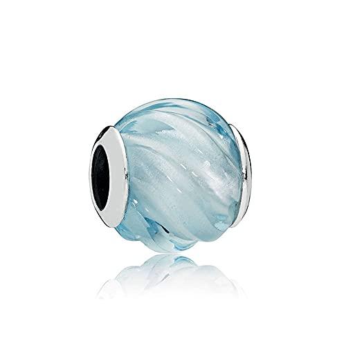 LIIHVYI Pandora Charms para Mujeres Cuentas Plata De Ley 925 Joyas De Bricolaje De Regalo De Ondas Azules Aguamarinas Compatible con Pulseras Europeos Collars